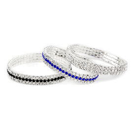 New York Close Out Set of 3- Blue, Black and White Austrian Crystal Bracelet (Size 7.75)