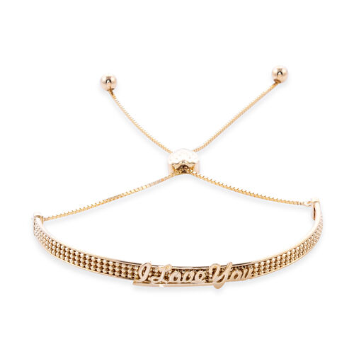 Royal Bali Collection Adjustable Bolo I Love You Bracelet in 9K Gold 6.5 to 8.5 Inch