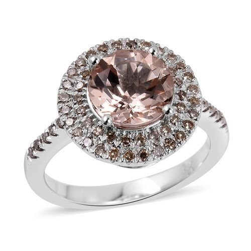 2.36 Ct AAA Morganite and Champagne Diamond Halo Ring in 9K White Gold
