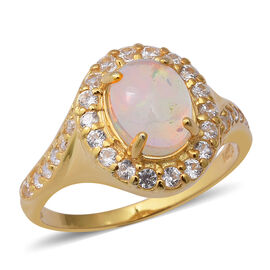 Ethiopian Welo Opal (Ovl 9x7 mm), Natural Cambodian White Zircon Ring in Yellow Gold Overlay Sterlin