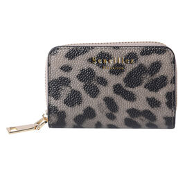 Sencillez - Leopard Print Genuine Leather Clutch Wallet with Card Holder and Zipper Closure (Size 11