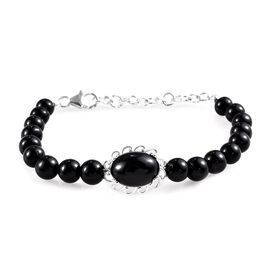 Boi Ploi Black Spinel (Ovl 14x10 mm) Bead Bracelet (Size 7.5 with Extender) in Sterling Silver 40.75