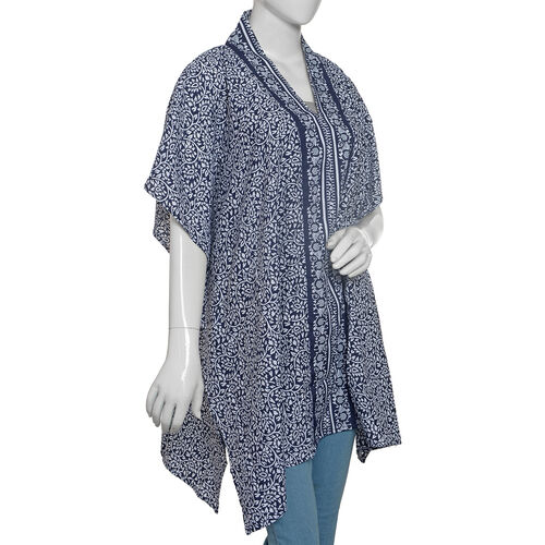 Designer Inspired-Blue and White Colour Floral Print Jacket (Size 80x70 Cm)