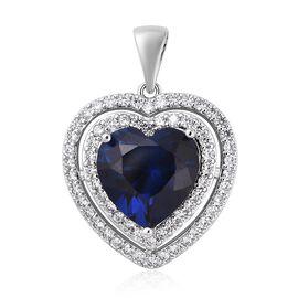 Simulated Blue Sapphire (Hrt), Simulated Diamond Pendant 10.46 Ct.