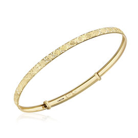 ILIANA 18K Yellow Gold Diamond Cut Star Flexi Bangle (Size 7-8.5), Gold wt 3.10 Gms