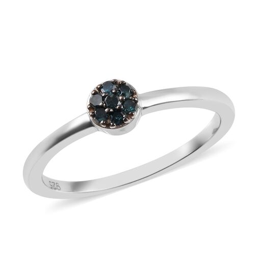 Blue Diamond Floral Ring in Platinum Plated Sterling Silver 0.08 Ct