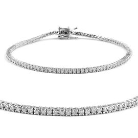 14K White Gold Diamond (Rnd) (H-I/I2-I3) Bracelet (Size 7) 1.000 Ct, Number of Diamonds 102.