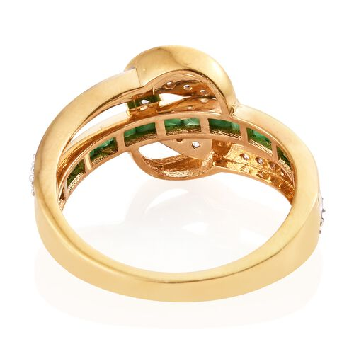 Kagem Zambian Emerald (0.75 Ct),Cambodian Zircon 14K Gold Overlay Sterling Silver Ring  1.250  Ct.