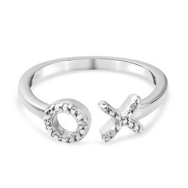 Diamond (Rnd) Hug and Kiss Ring in Platinum Overlay Sterling Silver