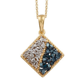 Blue and White Diamond (Rnd and Bgt) Pendant With Chain (Size 20) in 14K Gold Overlay with Blue Plat