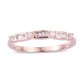 Diamond (Rnd and Bgt) Band Ring in Rose Gold Overlay Sterling Silver 0.150 Ct.