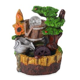 Tree and Floral Theme Water Fountain with Rotating Mystic Light Globe (Size 19x16 Cm)
