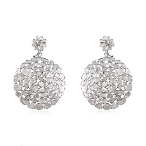 GP - Polki Diamond and Blue Sapphire Earrings (with Push Back) in Platinum Overlay Sterling Silver 4.31 Ct, Silver wt 7.00 Gms