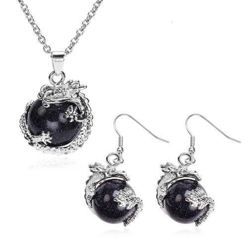 2 Piece Set - Blue Sandstone Hook Earrings and Pendant with Chain Stainless Steel 85.00 Ct.
