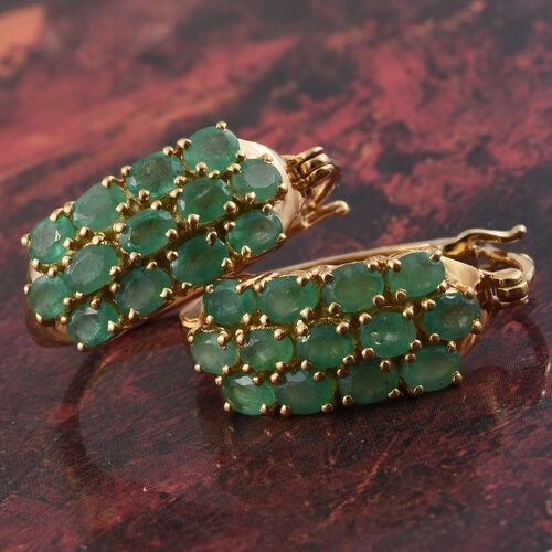 Kagem Zambian Emerald (Ovl) Hoop Earrings (with Clasp) in 14K Gold Overlay Sterling Silver 4.000 Ct. Silver wt. 6.60 Gms.