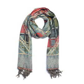 Hand Embroidered Adda Work from India - Grey and Multi Colour Periwinkle Scarf (Size 70x190 Cm)