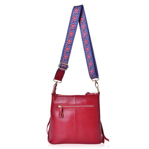 100%  Genuine Leather True Red Crossbody Bag with External Zipper Pocket and Floral Print Adjustable Shoulder Strap (Size 25X23X8 Cm)