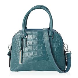 100% Genuine Leather Croc Embossed Tote Bag (Size 25x13.5x19 Cm) with Detachable Shoulder Strap - Te