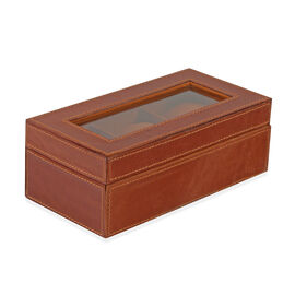 Leather Watch Box with Three Section Watch Cushion (Size 21x11x7.5 Cm) - Brown