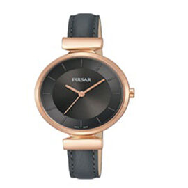 Pulsar Ladies Rose Gold Case 50M Watch with Black Leather Strap