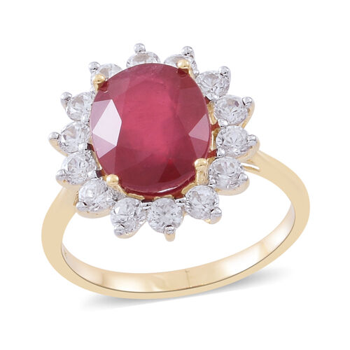 9K Yellow Gold AAA Rare Size African Ruby (Ovl 12x10 mm), Natural White Cambodian Zircon Ring 9.250 Ct.