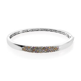 Multi Gem Stone Platinum Overlay Sterling Silver Bangle (Size 7.5)  1.500  Ct, Silver wt 20.59 Gms.
