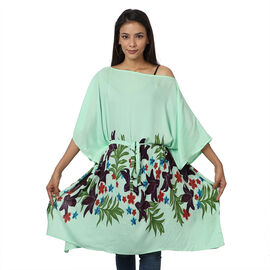 Floral printed Kaftan with Waist Belt (Size S to XXL 91x105cm) - Mint Green