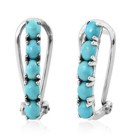 Arizona Sleeping Beauty Turquoise (Ovl) Earrings in Platinum Overlay Sterling Silver 1.750 Ct.