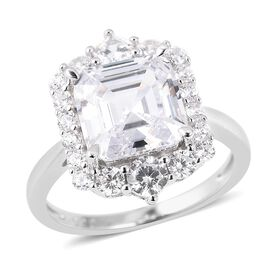 ELANZA Simulated Diamond (Asscher Cut) Ring in Rhodium Overlay Sterling Silver