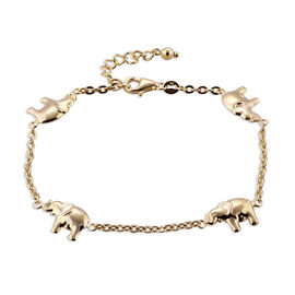 One Time Close Out Deal- 9K Yellow Gold Oval Link with Elephant Bracelet (Size 7 with 1 inch Extender).Gold Wt 2.85