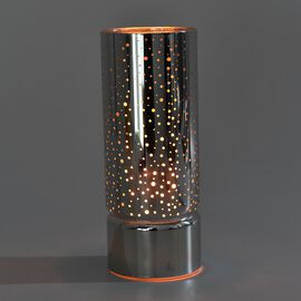 Spots Pattern Decorative Lamp in Yellow Light (Size 8x8x20 Cm) - Silver (3xAAA Battery not Included)