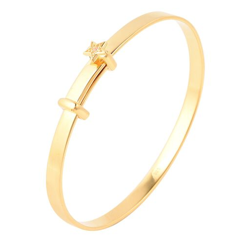 Natural Cambodian Zircon Adjustable Star Bangle in Yellow Gold Overlay Sterling Silver (Size 5), Silver wt 11.69 Gms