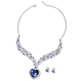 2 Piece Set - Simulated Blue Sapphire (Hrt), Blue Austrain Crystal, White Austrain Crystal Stud Earr
