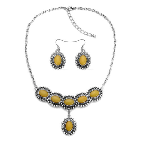 Designer Inspired Blue Goldstone and Yellow Quartzite Reversible Necklace (Size 18) and Matching Hook Earrings