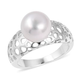 RACHEL GALLEY Very Rare White South Sea Pearl (Rnd 10 mm) Lattice Ring in Rhodium Overlay Sterling Silver