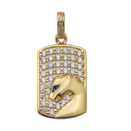 ELANZA Simulated Diamond and Simulated Blue Sapphire Dog-Tag Style Panther Pendant in Yellow Gold Ov