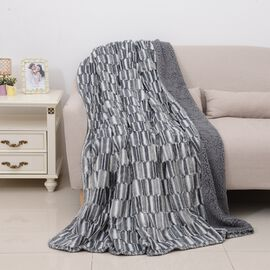 Faux Fur Bonded Sherpa Blanket Printed and Brushed (Size 150X200 Cm) Colour Grey