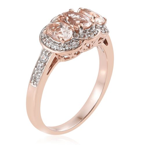 Marropino Morganite (Ovl), Natural Cambodian Zircon Ring in Rose Gold Overlay Sterling Silver 2.000 Ct.