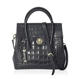 100% Genuine Leather Croc Embossed Flap Bag with Detachable Shoulder Strap (Size 27x11x25.5 Cm) - Bl