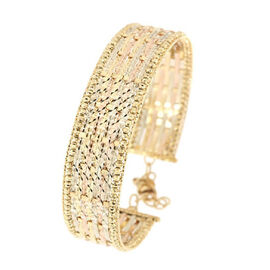 Diamond Cut Cuff Bangle in 9K Yellow White and Rose Gold 10.80 Grams 7 with 1.5 inch Extender