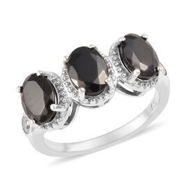 1.40 Ct Elite Shungite and Cambodian Zircon Trilogy Design Ring in Platinum Plated Silver