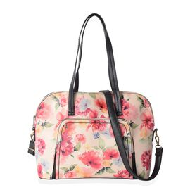 Close Out Deal  Multi Colour Flower Pattern Tote Bag with Removable Shoulder Strap-Beige (Size 37x28