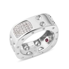 RACHEL GALLEY Majestic Collection Natural White Cambodian Zircon (Rnd), Burmese Ruby Ring in Rhodium