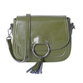 100% Genuine Leather Olive Colour Crossbody Bag with Removable Shoulder Strap (Size 20x16 x7Cm)