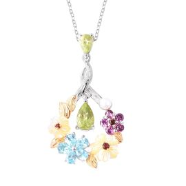 Jardin Collection - Yellow Mother of Pearl, Freshwater Pearl and Multi Gemstone Pendant With Chain (