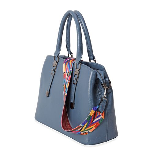 Premium Collection Super Soft 100% Genuine Leather Blue Colour Tote Bag with Removable Multi Colour Shoulder Strap (Size 31.5x22.5x13 Cm)