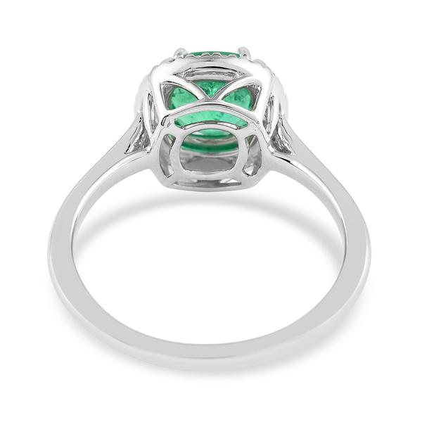 950 Platinum  Colombian Emerald  White Diamond Ring 1.30 ct,  Platinum Wt. 4.89 Gms  1.300  Ct.
