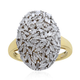 Fire Cracker Diamond (Bgt) Cluster Ring in 14K Gold Overlay Sterling Silver 1.000 Ct.