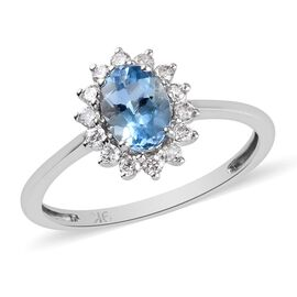9K White Gold Santamaria Aquamarine and Diamond Halo Ring 1.00 Ct.