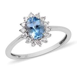 9K White Gold Santamaria Aquamarine and Diamond Halo Ring 1.00 Ct.